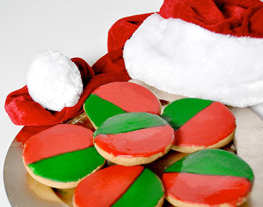 One Dozen Christmas-Themed Cookies (Red and Green)