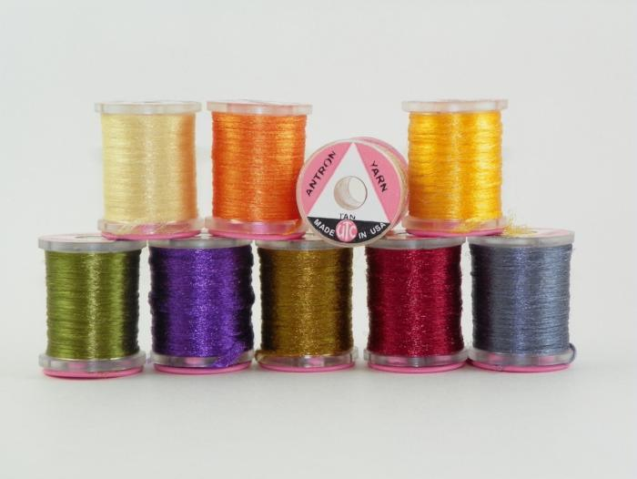 spools of antron yarn multipurpose for tying fishing flies