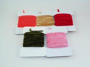 five packages of danville rayon chenille used for tying wooly buggers and other fly fishing flies