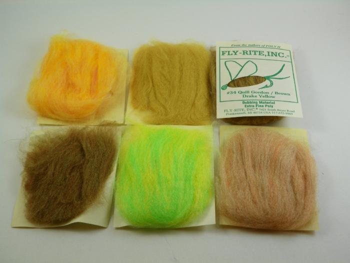 six packages of Fly Rite poly dubbing used for tying fishing flies like the Klinkhamer Emerger