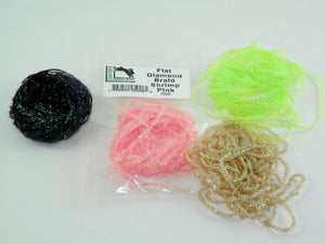 four colors of flashy body material used in tying fly fishing flies