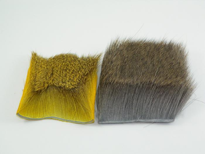 yellow and natural patches of deer hair used for tying fly fishing flies