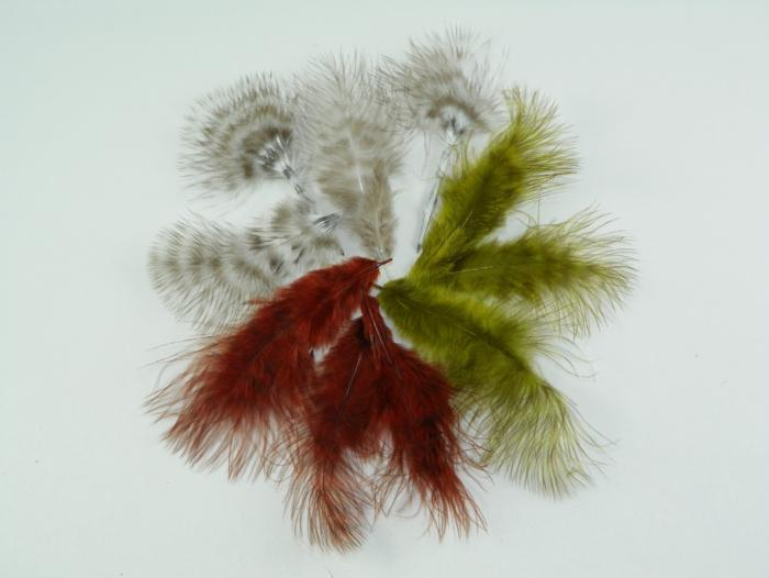 selection of dyed grizzly marabou feathers used for tying fly fishing flies