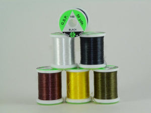 five colors of GSP Gel Spun Polyester a very strong thread used for tying fly fishing flies