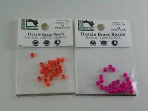 hareline dazzle beads florescent orange and florescent pink for fly tying