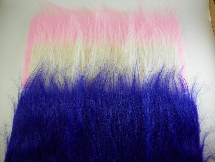 pink white and blue craft fur used for tying saltwater fishing flies from rangeley maine fly shop