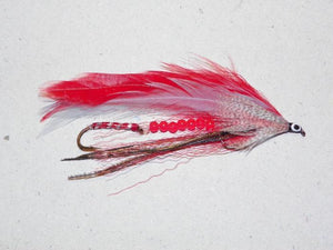 red grey ghost with beads from Rangeley Maine fly fishing shop