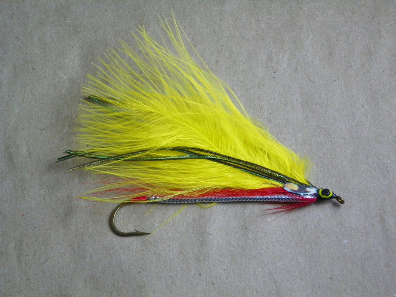 yellow marabou #2 8x long from Rangeley Maine fly fishing shop