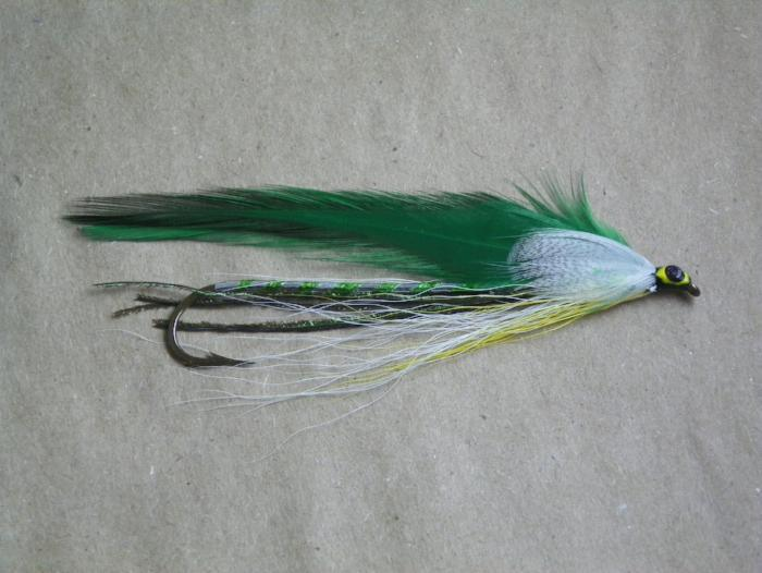 extra long shank streamer fly with green feather wing from Rangeley Maine flyshop