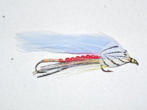 tandem trolling fly version of the classic streamer fly gray ghost with red beads on the wire between the two hooks