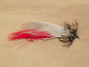 Hornberg with red insert under wing from Rangeley Maine fly fishing shop