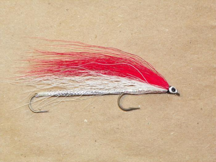 red and white bucktail