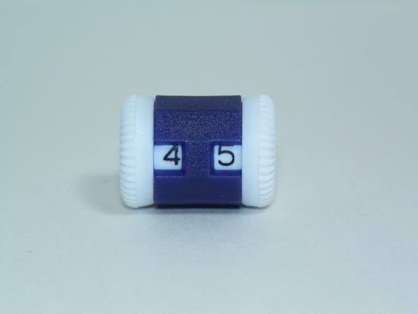 a counter with two digits that can be individually manipulated to count bird flushes, knitting rows