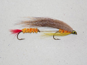 classic bucktail tandem hook streamer Dark Edson Tiger used for trout, salmon and bass