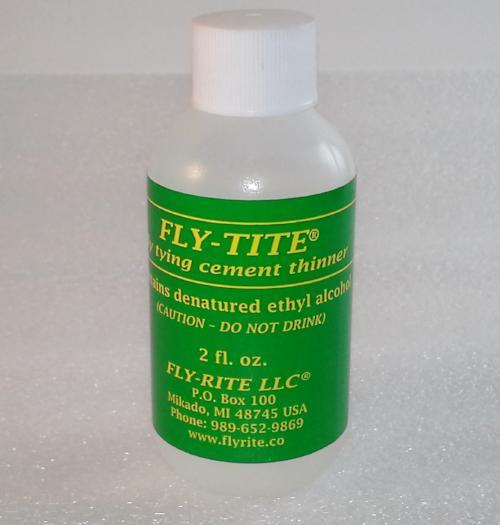 two ounce bottle of Fly-Tite head cement thinner