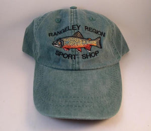 green quality Adams ball cap embroidered with a Brook Trout and the shop name