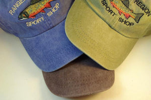 image of three colors of Adams hat with embroidered brook trout and Rangeley Region Sport Shop