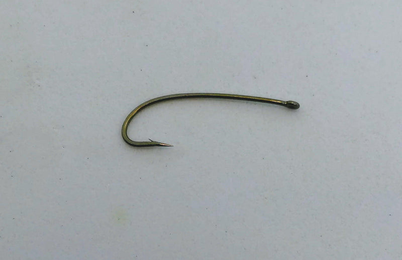 a fly tying hook with a slightly curved shank used to tie nymphs and hoppers