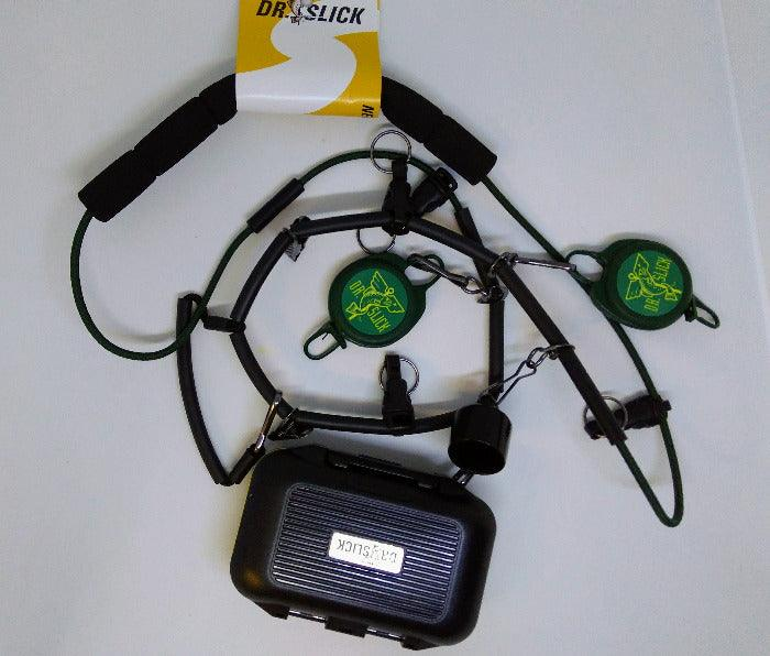 a fly fishing lanyard by Dr. Slick with zingers, floatant holder, fly box, foam collar and more