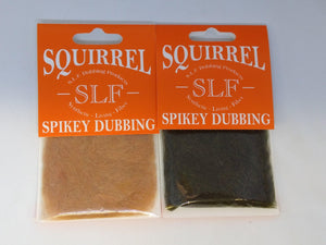 two packages of dubbing made from squirrel fur and SLF for a bit of flash