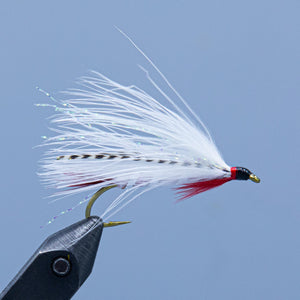 A Dam Wammy fishing fly tied with white marabou created by Wes Miller for fishing at Upper Dam