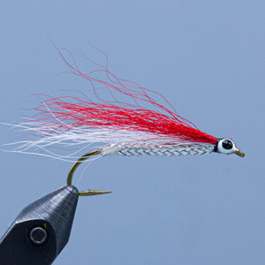A red and white bucktail wing over a silver body to create the Red and White classic streamer fly