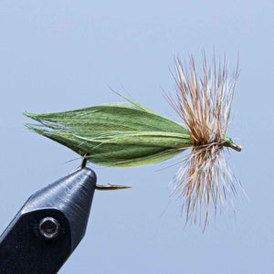 green hornberg at a maine fly shop