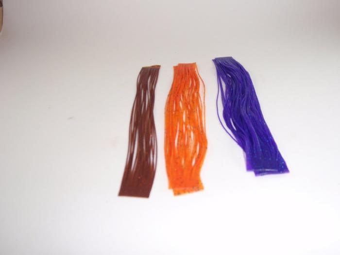 three colors of silicone material for tying legs on fishing flies
