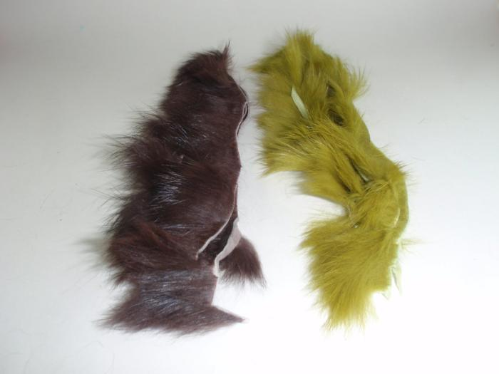 strips of crosscut rabbit fur used for tying flies