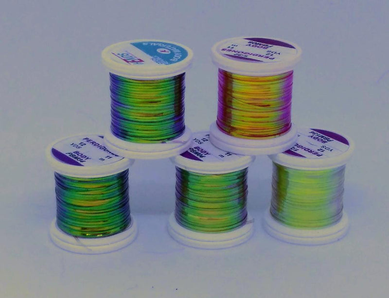 5 spools of different colors of Perdigone, a pearl flash tinsel for tying nymph