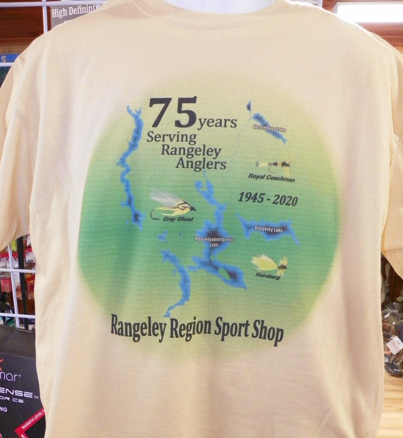 yellow shirt with picture of lakes and rivers and flies for the 75th anniversary of the Rangeley Region Sport Shop