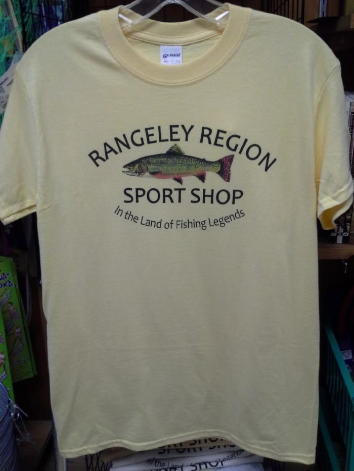light yellow t shirt with inked brook trout design and rangeley region sport shop