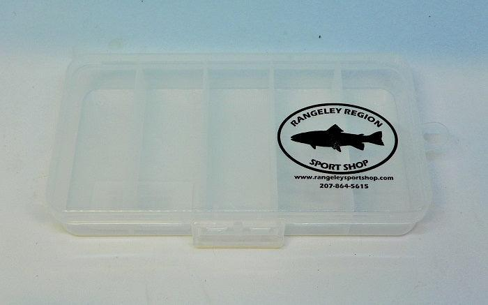 five compartment translucent box for holding lures and flies with Rangeley Region Sport Shop black design on cover