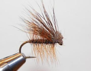 a brown deer hair caddis from a rangeley maine fly shop