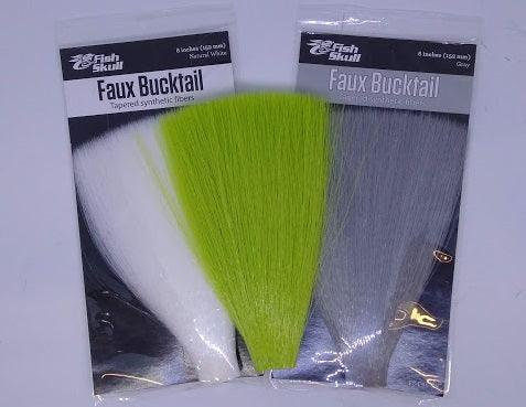 packages of gray and white faux bucktail with a chartreuse faux bucktail on top.  Used for tying flies and from a Rangeley Maine fly shop