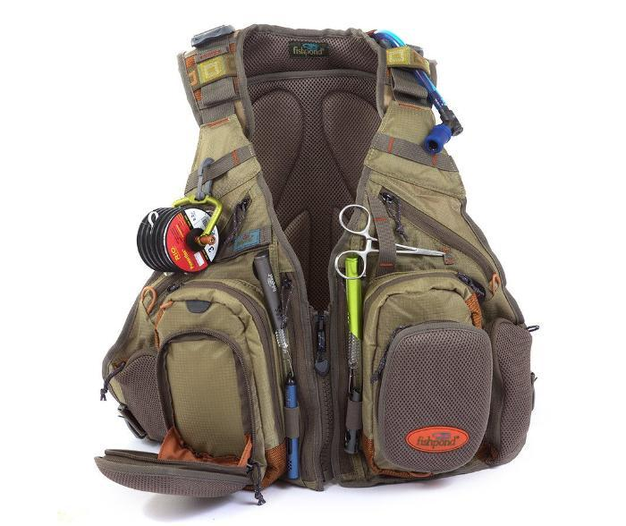 Fishpond USA's Wasatch Tech pack with a vest style front with plenty of organization and hydration reservoir pocket