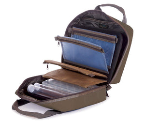 Fishpond USA's Road trip fly tying kit a zipped cloth case with many pockets and more for organizing fly tying supplies
