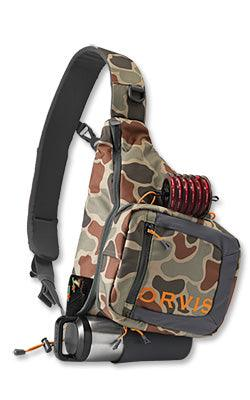 brown camo colored Safe Passage sling pack from Orvis