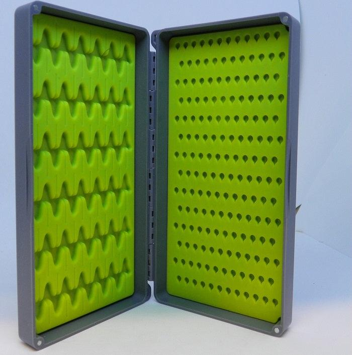 gray fly box with lime green silicone mats to hold both large and small flies - From Orvis and Tacky
