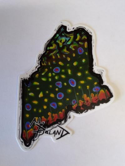 State of Maine Brookie Sticker - artwork by Alex Poland