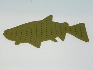 olive fish shaped fly holder