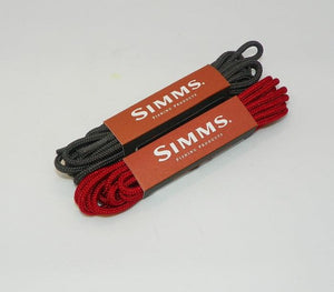 two packages of Simms boot laces, one orange, one gray