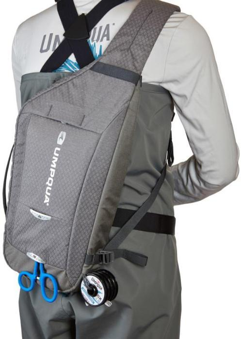 Umpqua  Switch 600 ZS Sling shown slung to an angler's back