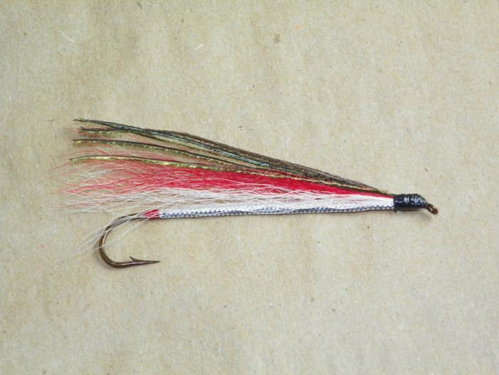 red and white bucktail #2 8x long from Rangeley Maine fly fishing shop