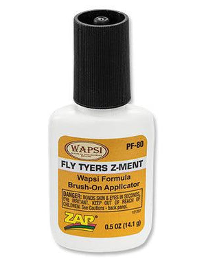 bottle of Z-Ment from Zap and Wapsi. An adhesive used for finishing flies and more