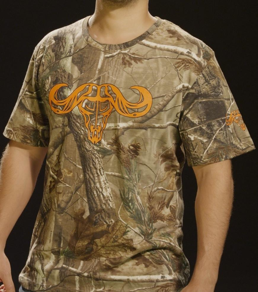 Rum Bum Outdoors Camo Short Sleeve T-Shirt w/ Orange Logo