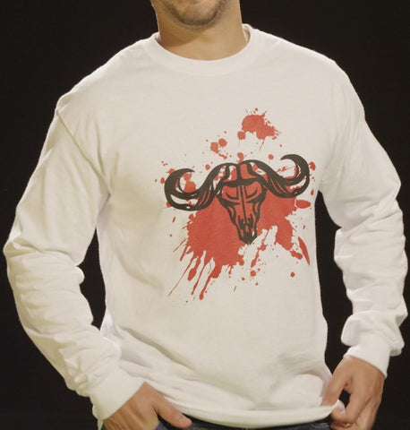 Rum Bum Outdoors White Long Sleeve T-Shirt w/ Blood Splatter Logo