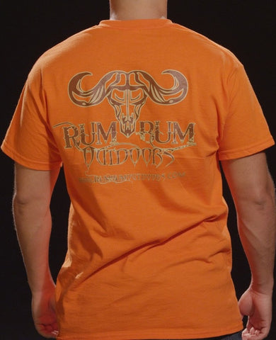 Rum Bum Outdoors Orange Short Sleeve T-Shirt w/ Small Brown Logo