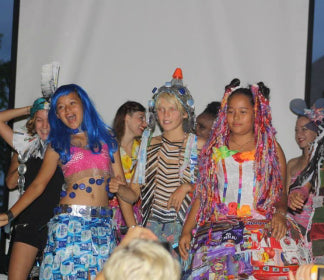 Melati and Isabel upcycled trash fashion show