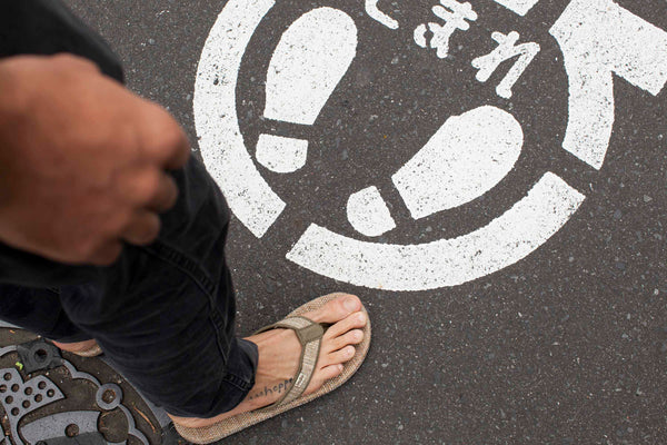 Grass Mat tire soled sandals in Japan